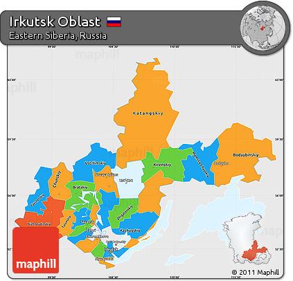 Free Political Simple Map of Irkutsk Oblast single color outside