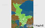 Political Shades Map of Krasnoyarsk Krai, darken