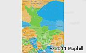 Political Shades Map of Krasnoyarsk Krai