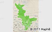 Political Shades Map of Krasnoyarsk Krai, shaded relief outside
