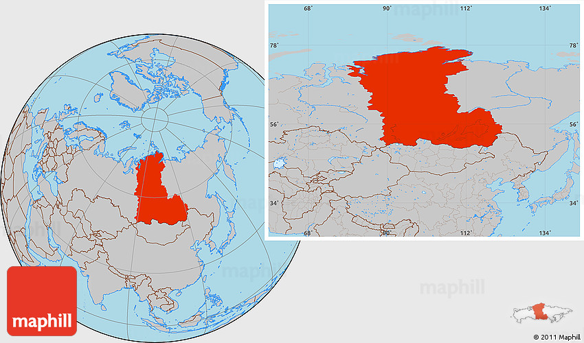 Where Is Siberia On A World Map.Gray Location Map Of Eastern Siberia