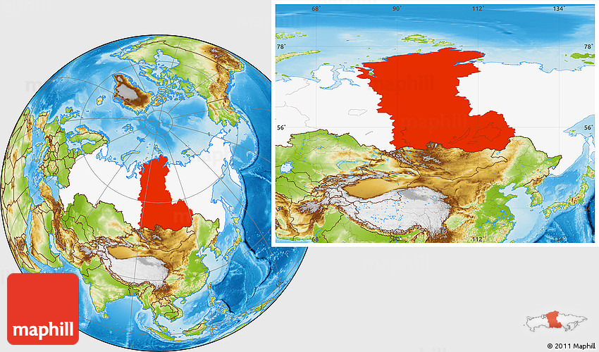 Where Is Siberia On A World Map.Physical Location Map Of Eastern Siberia Highlighted Country