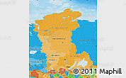 Political Shades Map of Eastern Siberia