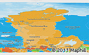 Political Shades Panoramic Map of Eastern Siberia