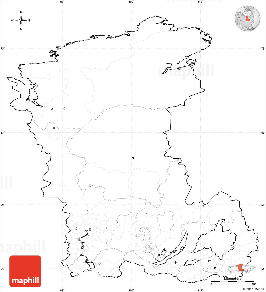 blank simple map of eastern siberia cropped outside no labels