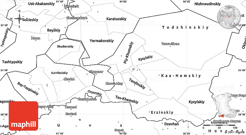 Blank Simple Map Of Tuva Republic - Blank map of russia
