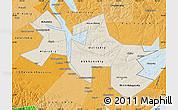 Shaded Relief Map of Ust-Orda Buryat Autonomous Okrug, political shades outside
