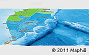 Political Shades Panoramic Map of Kamchatka Oblast