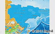 Political Shades Map of Far East