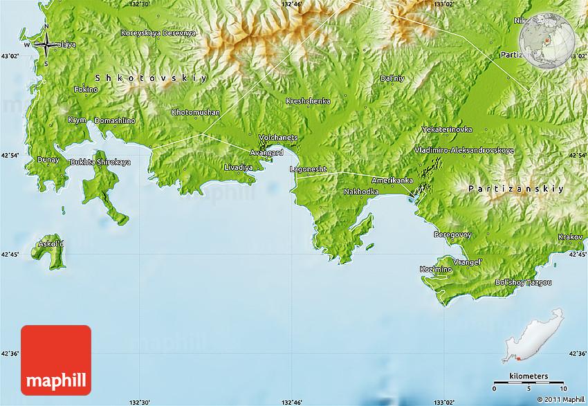 Physical Map Of Nakhodka - Nakhodka map