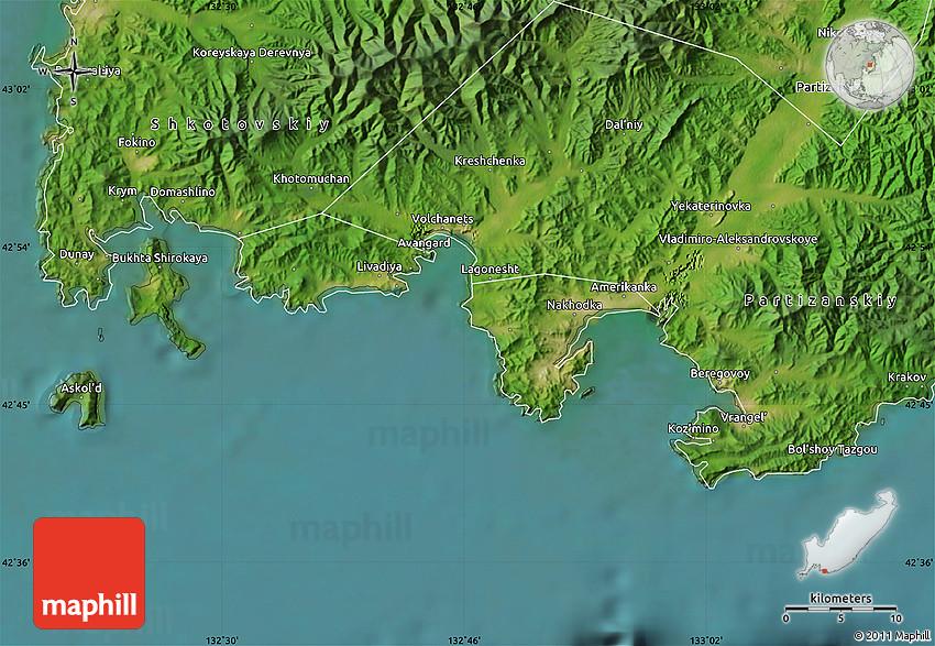Satellite Map Of Nakhodka - Nakhodka map