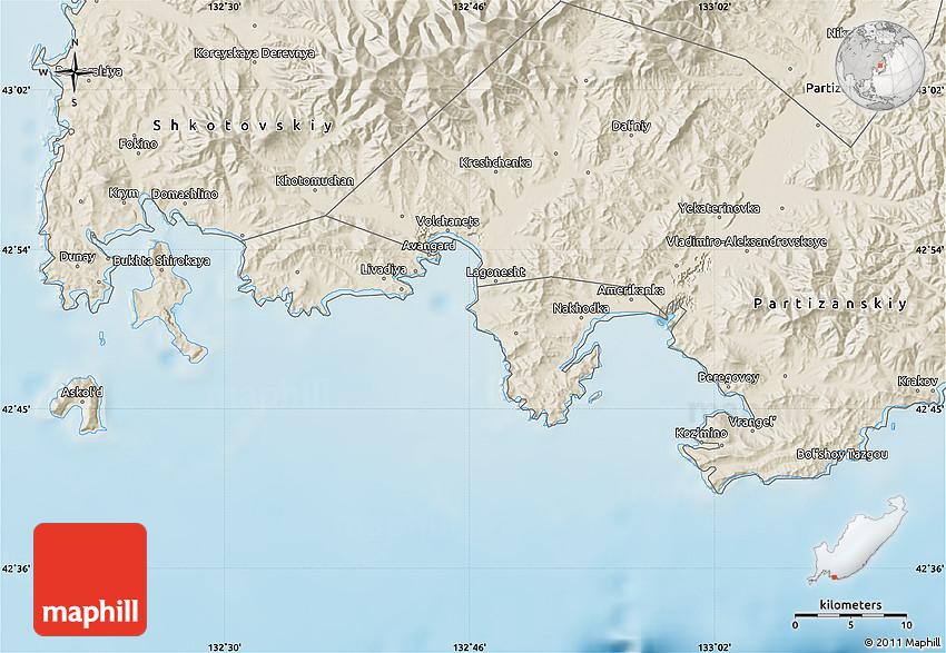 Shaded Relief Map Of Nakhodka - Nakhodka map