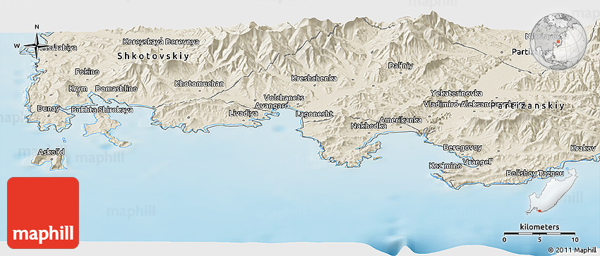 Shaded Relief Panoramic Map Of Nakhodka - Nakhodka map