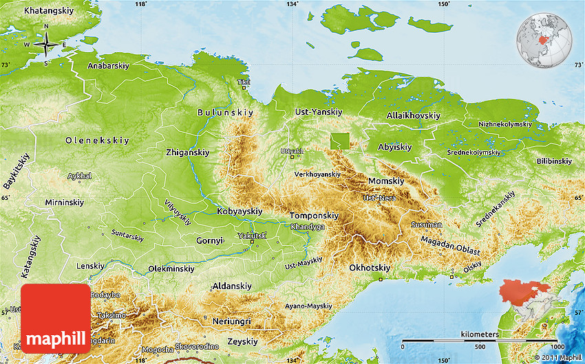 Charming Physical Map Of Sakha (Yakutia) Republic