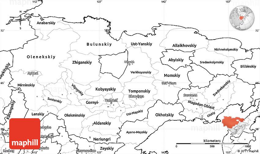 Blank Simple Map Of Sakha Yakutia Republic