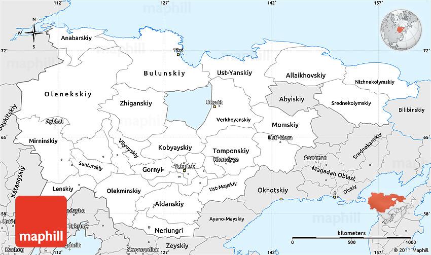 Silver Style Simple Map of Sakha (Yakutia) Republic on vladivostok russia map, khakassia russia map, northeastern russia map, nyagan russia map, yakutsk russia map, chuvashia russia map, verkhoyansk russia map, novgorod russia map, kamchatka peninsula physical map, sakha republic russia map, stavropol russia map, kuril islands russia map, america and russia map, ural river russia map, chelyabinsk russia map, transcaucasia russia map, s the republic and russia map, tuva russia map, chukchi peninsula russia map, yakut map,