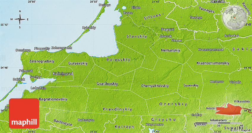 Physical Map of Kaliningrad Oblast on russia and the former soviet union map, russia moscow on map, russia hungary on map, tatarstan russia map, russia lake onega on map, novgorod russia map, russia political map, russia and germany, russia lake baikal on map, russia and usa map, city of kaliningrad russia map, european separatist movements map, germany map, kaliningrad oblast map, russia st. petersburg on map,