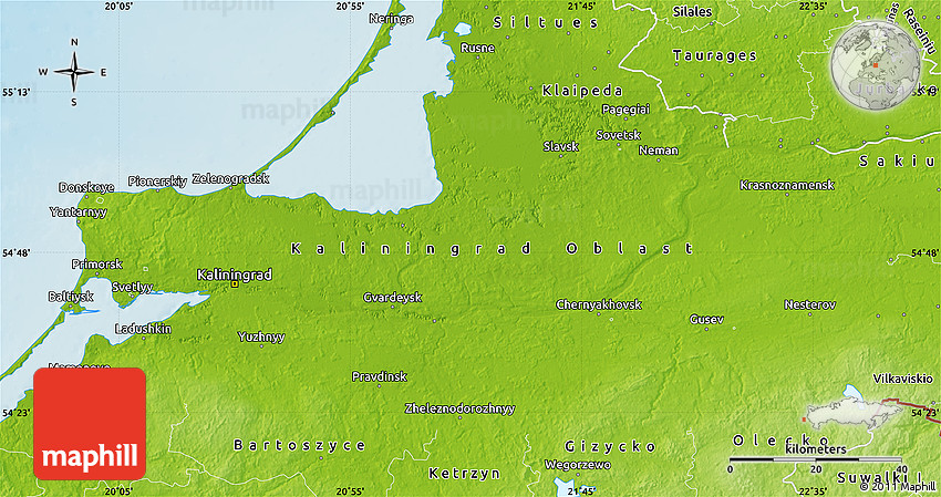 Physical Map Of Kaliningrad