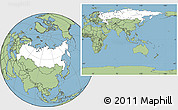 Blank Location Map of Russia, savanna style outside