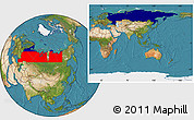 Flag Location Map of Russia, satellite outside