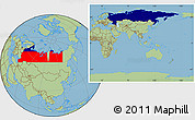 Flag Location Map of Russia, savanna style outside