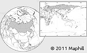Gray Location Map of Russia, blank outside