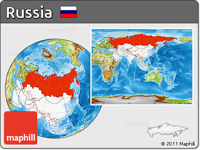 Physical Location Map of Russia, highlighted continent