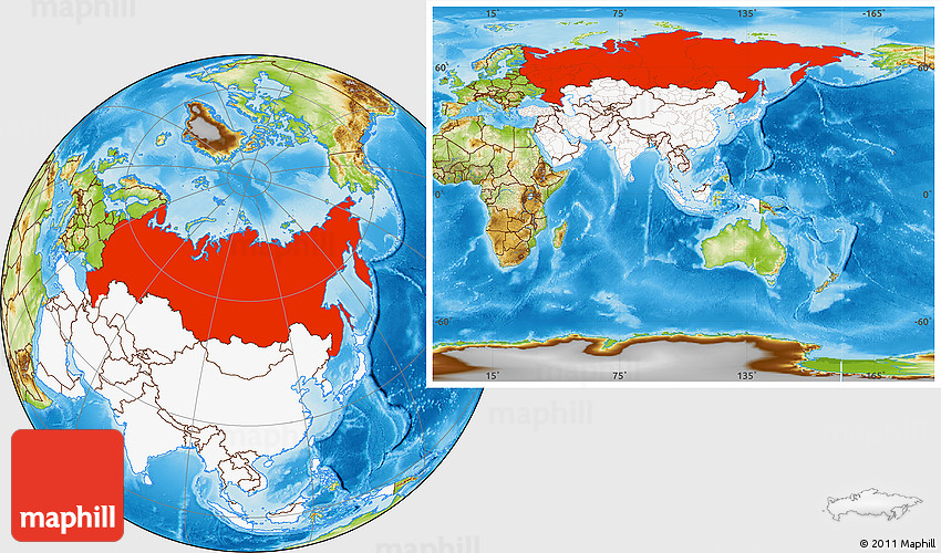 Physical Location Map Of Russia Highlighted Continent - Where is russia located