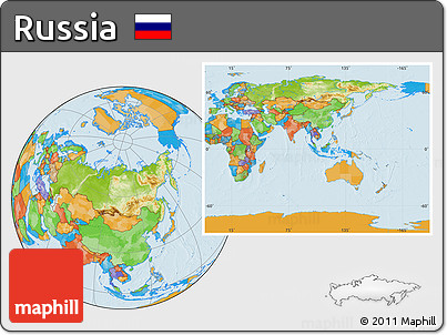 Free Physical Location Map Of Russia Political Outside - Russia location