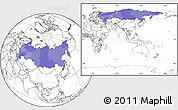Political Location Map of Russia, blank outside