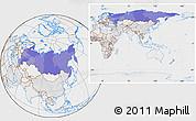 Political Location Map of Russia, lighten, desaturated