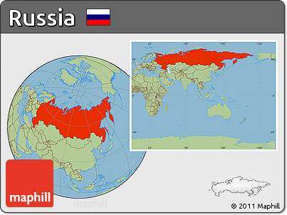 Free Savanna Style Location Map Of Russia Within The Entire Continent - Russia location