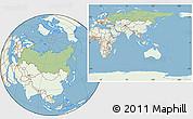 Savanna Style Location Map of Russia, lighten, land only