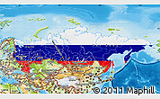 Flag Map of Russia, physical outside