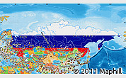 Flag Map of Russia, political outside