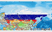 Flag Map of Russia, political shades outside