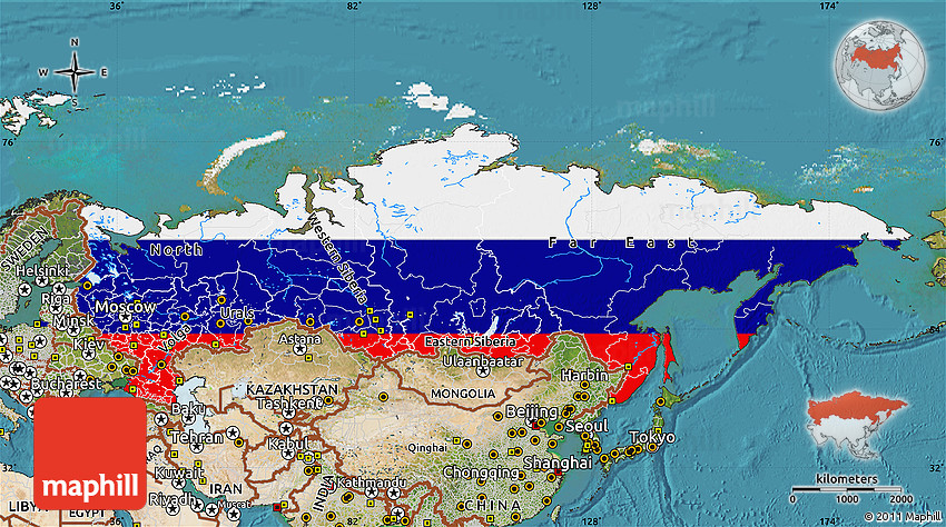 Flag Map of Russia satellite outside