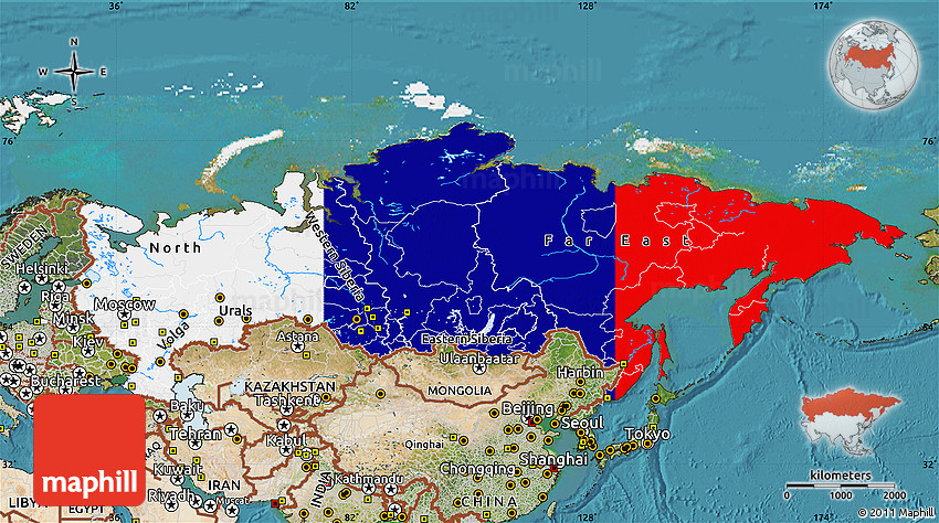 Flag Map of Russia satellite outside flag aligned to the middle