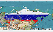 Flag Map of Russia, satellite outside