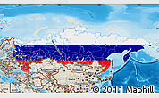 Flag Map of Russia, shaded relief outside