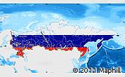 Flag Map of Russia, single color outside, bathymetry sea