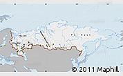 Gray Map of Russia, single color outside