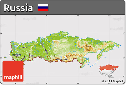 Free Physical Map Of Russia Cropped Outside - Physical map of russia