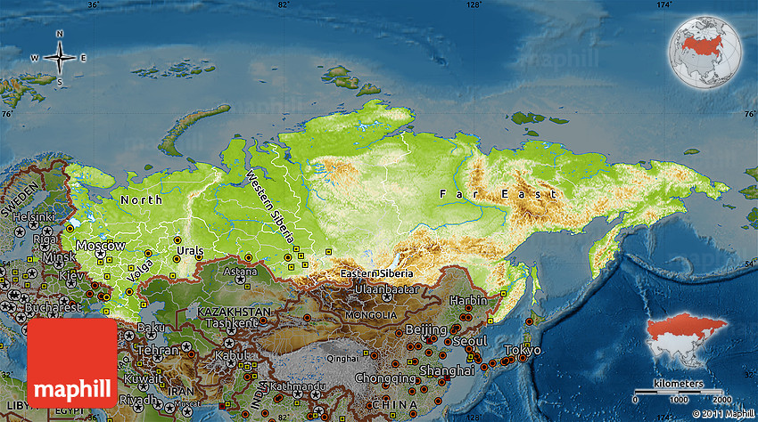 Physical Map Of Russia Darken - Physical map of russia