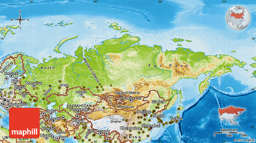 Physical Map Of Russia - Detailed map of russia