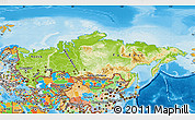 Physical Map of Russia, political outside, shaded relief sea