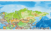 Physical Map of Russia, political shades outside, shaded relief sea