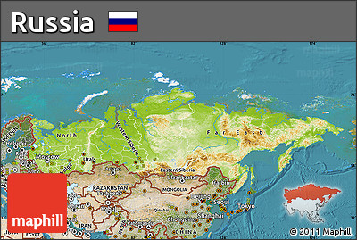 Free Physical Map of Russia satellite outside