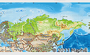 Physical Map of Russia, satellite outside, shaded relief sea