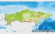 Physical Map of Russia, single color outside
